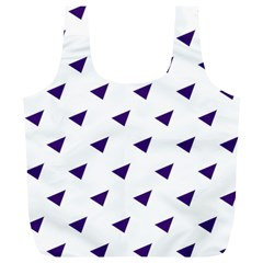 Triangle Purple Blue White Full Print Recycle Bags (L)