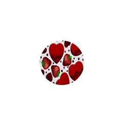 Strawberry Hearts Cocolate Love Valentine Pink Fruit Red 1  Mini Magnets