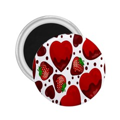Strawberry Hearts Cocolate Love Valentine Pink Fruit Red 2.25  Magnets