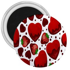 Strawberry Hearts Cocolate Love Valentine Pink Fruit Red 3  Magnets