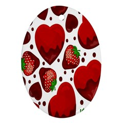 Strawberry Hearts Cocolate Love Valentine Pink Fruit Red Ornament (Oval)
