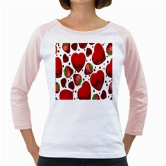 Strawberry Hearts Cocolate Love Valentine Pink Fruit Red Girly Raglans