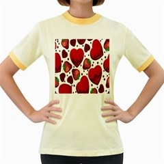 Strawberry Hearts Cocolate Love Valentine Pink Fruit Red Women s Fitted Ringer T-Shirts