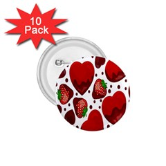 Strawberry Hearts Cocolate Love Valentine Pink Fruit Red 1 75  Buttons (10 Pack)