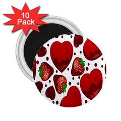 Strawberry Hearts Cocolate Love Valentine Pink Fruit Red 2 25  Magnets (10 Pack)