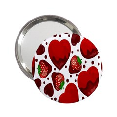 Strawberry Hearts Cocolate Love Valentine Pink Fruit Red 2.25  Handbag Mirrors