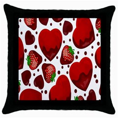 Strawberry Hearts Cocolate Love Valentine Pink Fruit Red Throw Pillow Case (black)