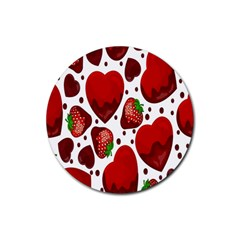 Strawberry Hearts Cocolate Love Valentine Pink Fruit Red Rubber Coaster (Round)