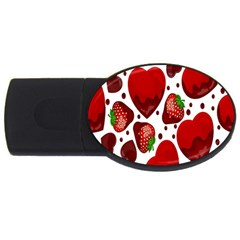 Strawberry Hearts Cocolate Love Valentine Pink Fruit Red USB Flash Drive Oval (1 GB)