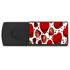 Strawberry Hearts Cocolate Love Valentine Pink Fruit Red USB Flash Drive Rectangular (1 GB)