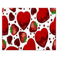 Strawberry Hearts Cocolate Love Valentine Pink Fruit Red Rectangular Jigsaw Puzzl