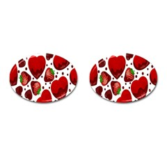 Strawberry Hearts Cocolate Love Valentine Pink Fruit Red Cufflinks (oval)