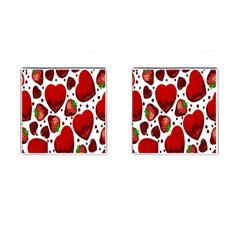 Strawberry Hearts Cocolate Love Valentine Pink Fruit Red Cufflinks (square)