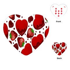 Strawberry Hearts Cocolate Love Valentine Pink Fruit Red Playing Cards (Heart)