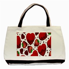 Strawberry Hearts Cocolate Love Valentine Pink Fruit Red Basic Tote Bag