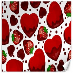 Strawberry Hearts Cocolate Love Valentine Pink Fruit Red Canvas 12  x 12