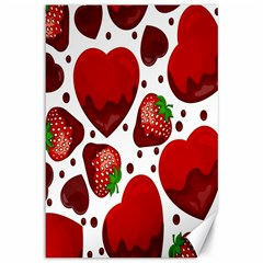 Strawberry Hearts Cocolate Love Valentine Pink Fruit Red Canvas 12  x 18