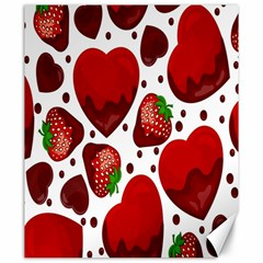 Strawberry Hearts Cocolate Love Valentine Pink Fruit Red Canvas 20  X 24