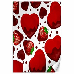 Strawberry Hearts Cocolate Love Valentine Pink Fruit Red Canvas 24  x 36