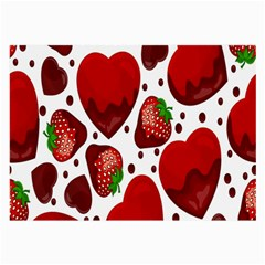 Strawberry Hearts Cocolate Love Valentine Pink Fruit Red Large Glasses Cloth (2 Side)