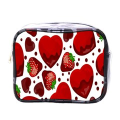 Strawberry Hearts Cocolate Love Valentine Pink Fruit Red Mini Toiletries Bags