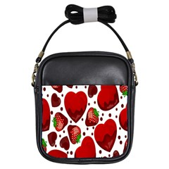 Strawberry Hearts Cocolate Love Valentine Pink Fruit Red Girls Sling Bags
