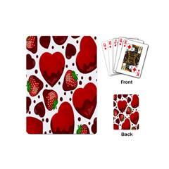 Strawberry Hearts Cocolate Love Valentine Pink Fruit Red Playing Cards (mini)