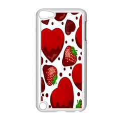 Strawberry Hearts Cocolate Love Valentine Pink Fruit Red Apple iPod Touch 5 Case (White)