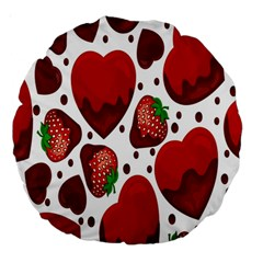 Strawberry Hearts Cocolate Love Valentine Pink Fruit Red Large 18  Premium Round Cushions
