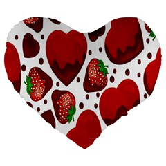 Strawberry Hearts Cocolate Love Valentine Pink Fruit Red Large 19  Premium Heart Shape Cushions