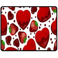 Strawberry Hearts Cocolate Love Valentine Pink Fruit Red Double Sided Fleece Blanket (Medium)