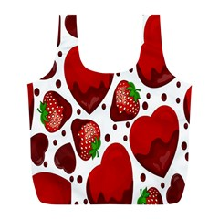 Strawberry Hearts Cocolate Love Valentine Pink Fruit Red Full Print Recycle Bags (L)