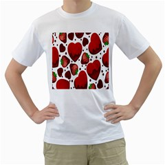 Strawberry Hearts Cocolate Love Valentine Pink Fruit Red Men s T-Shirt (White)