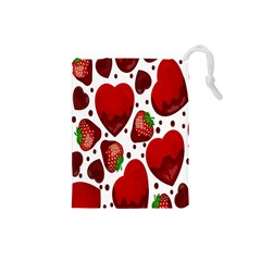 Strawberry Hearts Cocolate Love Valentine Pink Fruit Red Drawstring Pouches (Small)