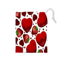 Strawberry Hearts Cocolate Love Valentine Pink Fruit Red Drawstring Pouches (Medium)