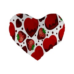 Strawberry Hearts Cocolate Love Valentine Pink Fruit Red Standard 16  Premium Flano Heart Shape Cushions