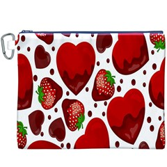 Strawberry Hearts Cocolate Love Valentine Pink Fruit Red Canvas Cosmetic Bag (XXXL)
