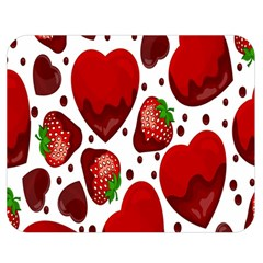 Strawberry Hearts Cocolate Love Valentine Pink Fruit Red Double Sided Flano Blanket (Medium)