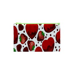 Strawberry Hearts Cocolate Love Valentine Pink Fruit Red Cosmetic Bag (XS)