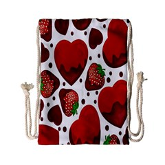 Strawberry Hearts Cocolate Love Valentine Pink Fruit Red Drawstring Bag (Small)