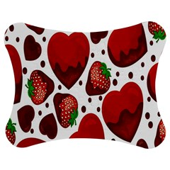Strawberry Hearts Cocolate Love Valentine Pink Fruit Red Jigsaw Puzzle Photo Stand (Bow)