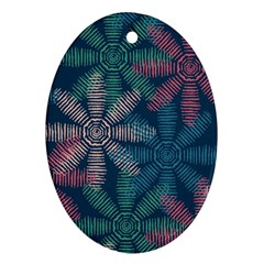 Spring Flower Red Grey Green Blue Ornament (oval)