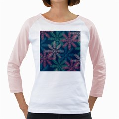 Spring Flower Red Grey Green Blue Girly Raglans