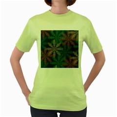 Spring Flower Red Grey Green Blue Women s Green T-Shirt