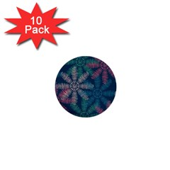 Spring Flower Red Grey Green Blue 1  Mini Buttons (10 Pack)