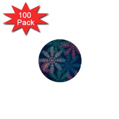 Spring Flower Red Grey Green Blue 1  Mini Buttons (100 Pack)