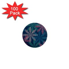 Spring Flower Red Grey Green Blue 1  Mini Magnets (100 Pack)