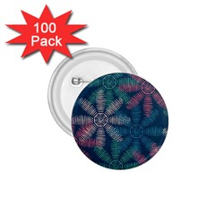 Spring Flower Red Grey Green Blue 1 75  Buttons (100 Pack)