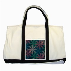 Spring Flower Red Grey Green Blue Two Tone Tote Bag
