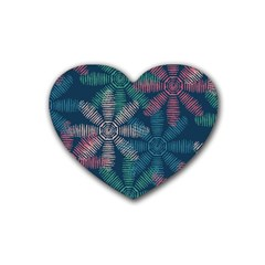 Spring Flower Red Grey Green Blue Rubber Coaster (Heart)